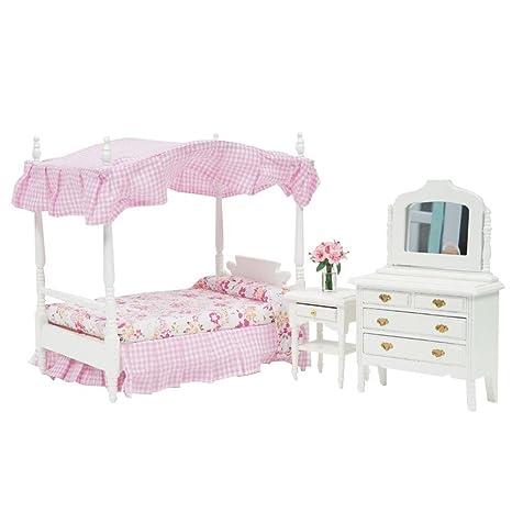 Amazon.com: Binglinghua® Wood Miniature Dollhouse Pink Bedroom ...