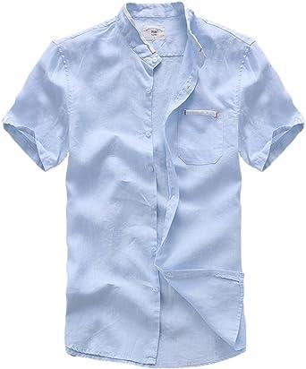 Insun Camisas de Lino Camisas Playa Hombres Manga Corta Casual: Amazon.es: Ropa y accesorios