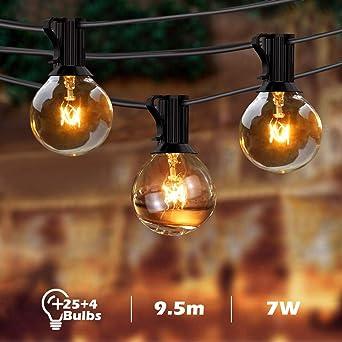 BACKTURE Guirnaldas Luminosas de Exterior, G40 Guirnalda Cadena Luces 25 Bombillas con 4 Bombilla de Repuesto, 9.5M/31FT Impermeable Guirnaldas luminosas para Fiesta, Boda, Jardín Patio Cafe: Amazon.es: Iluminación