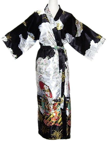 Kimono Mujer japonesa negro - bata larga elegante de satén