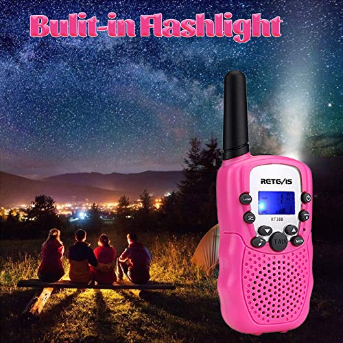 Retevis RT-388 Kids Walkie Talkies, Walkie Talkies for Girls 22CH with Backlit LCD Flashlight Two Way Radio Kids Toy,Gifts for 4-12 Year Old Girls to Camping,Outside Toys(2 Pack, Pink)
