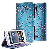 OneTouch Pop Astro Case, Nagebee - Alcatel OneTouch POP Astro Design Dual-Use Flip PU Leather Fold Wallet Pouch Case Premium Leather Wallet Flip Case for Alcatel onetouch Pop Astro 5042T (Wallet Plum Blossom)
