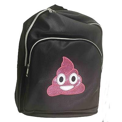 Olivia Miller Girl Glitter Poop Emoji Backpack, Black
