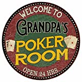 Great American Memories Grandpa's Poker Room 14'' Round Metal Sign Kitchen Bar Red Wall Décor MR14128458