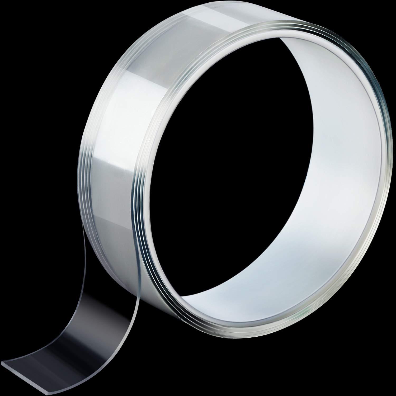 Ruban Adh/ésif Multifonctionnel Transparent Double Face Bande de Gel de Silicone Amovible Bande Sans Trace Ruban Collant Antid/érapant Lavable et R/éutilisable THK 1 mm, L 2 m