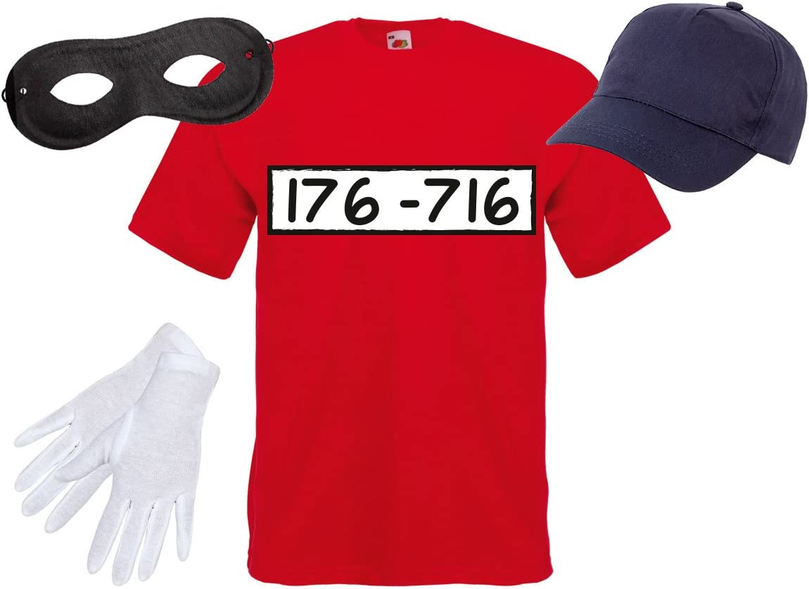 Adulti Costume Banda Bassotti Taglia:XL Taglia XL Unisex Cappellino Guanti Set di T-Shirt Ragazzi Maschera per Carnevale Festa Serata a Tema