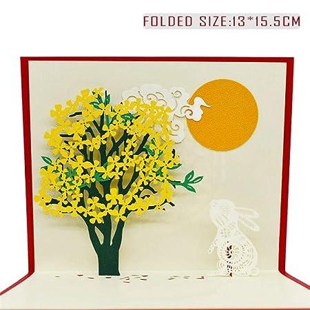 YAOJII 3D Pop-Up Cute Cards Tarjeta de cumpleaños para niños ...