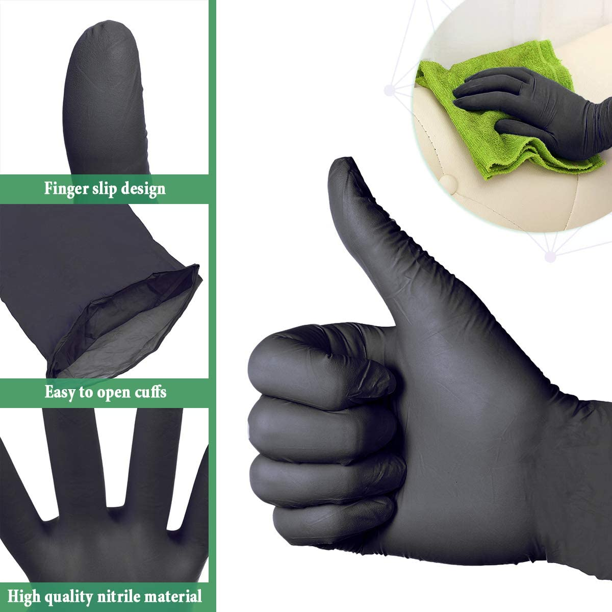 S,M,L Latex Free,Cleaning Glove for Family Use,Arrive in 7-10 Days Soft Industrial Gloves 50 Pairs Gloves Ship from USA S, Black