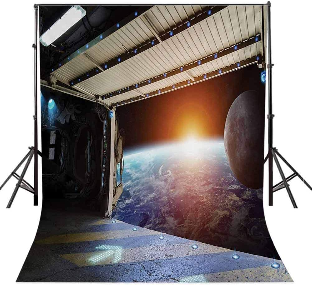 Earth Scene from a Space Plane Runway Gate Globe Galaxy Up to Stars Picture Background for Baby Shower Birthday Wedding Bridal Shower Party Decoration Photo Studio 10x12 FT Photography Backdrop