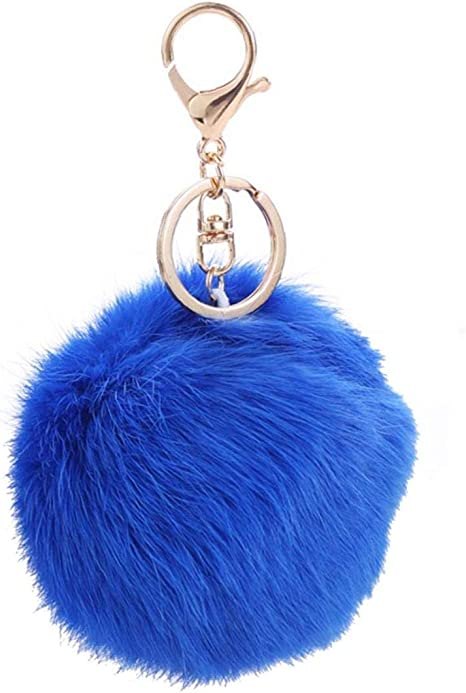 Fourrure de lapin peluche Pompom ball sac à main voiture pendentif porte-clés