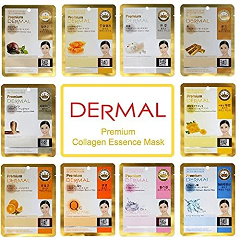 Dermal Korea Premium Collagen Essence Full Face Facial Mask Sheet, 10 Combo Pack - Face Sheet