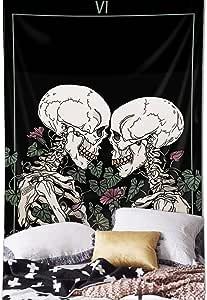 Skull Tapestry The Kissing Lovers Tapestry Black Tarot Tapestry Human
