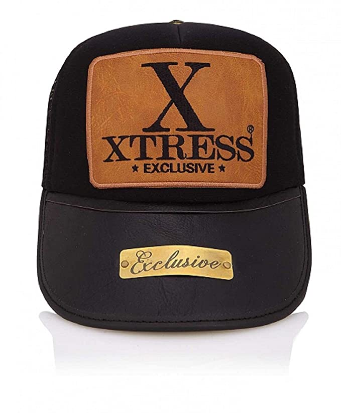 Xtress Exclusive Gorra negra con visera de cuero negro. Unisex: Amazon.es: Ropa y accesorios
