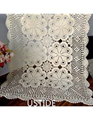 Ustide Rustic Crochet Table Runner Cotton Beige Table Cloth Handmade Table Runner For Dinning Room 23inchesX39inches
