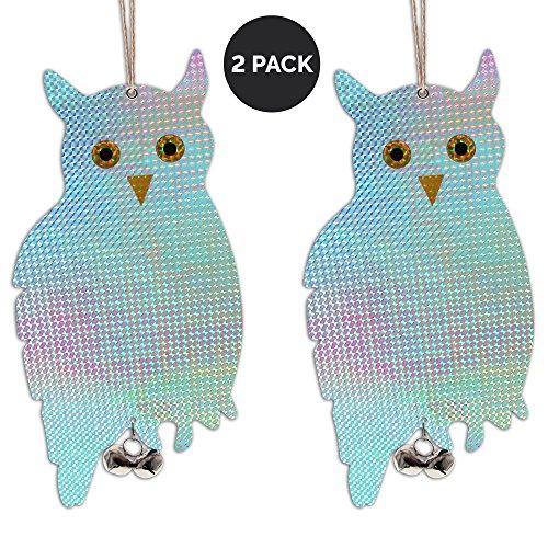 "Reflective Owl Decoy & Bird Repellent - Double-Sided 16"" Flashy Scarecrow Bird Deterrent & Wood Pecker Deterrents with Tinkling Bells (2-Pack)"
