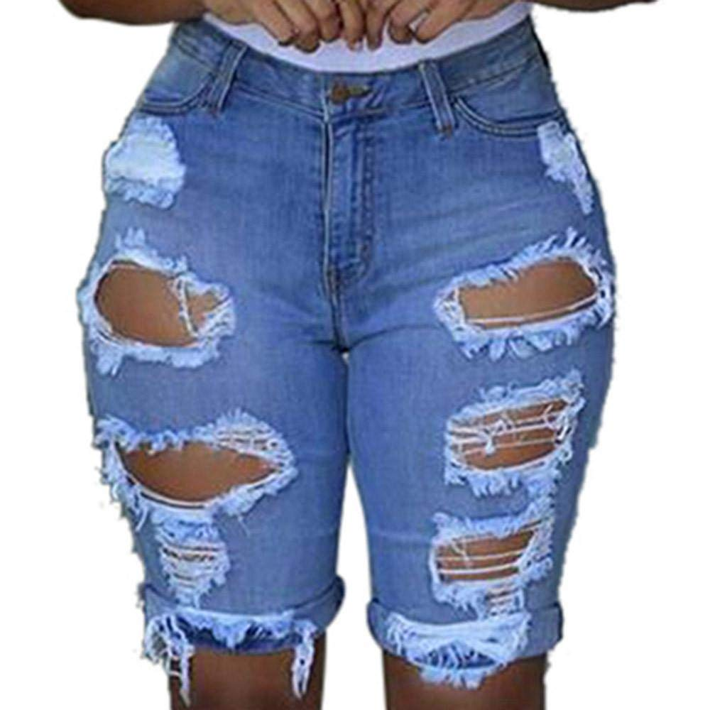 ZZpioneer Womens Casual Elastic Destroyed Hole Leggings Short Pants Denim Shorts Ripped Jeans
