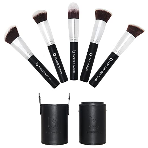 Kabuki Makeup Brush Set with BONUS Travel Brush Holder: Includes Foundation, Blush, Bronzer, Concealer, & Mineral Brushes
