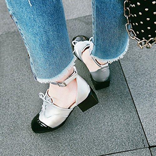 col Tacco con Xinwcang Chiusi Argento Grosso Sandali Donna Scarpe Eleganti Cinturino Moda qxqwt6f