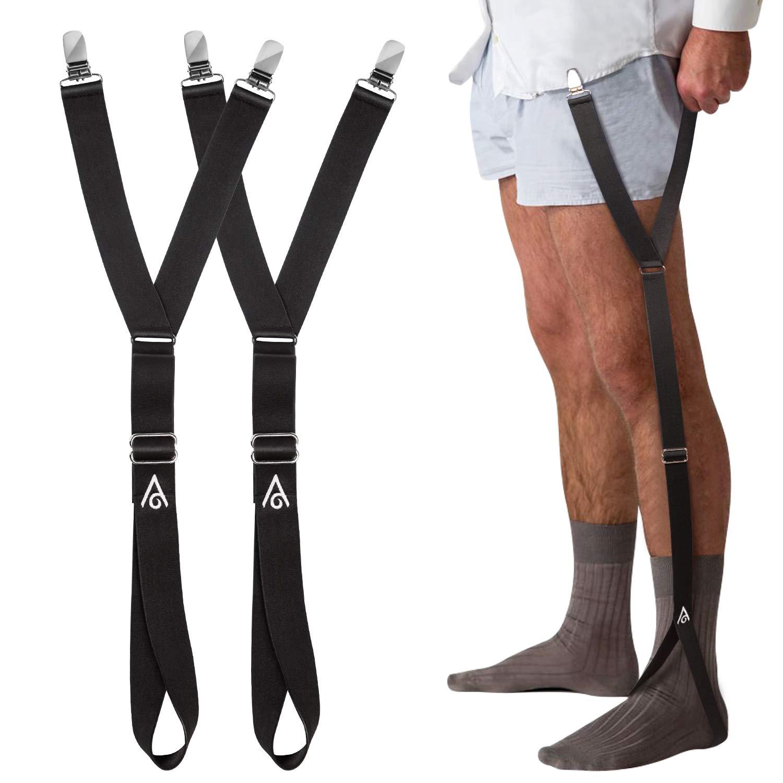 Shirt Stays Stirrup Style - Adjustable Straps Elastic Shirt Holder Garters Shirt Tucker Non-slip Locking Clamps