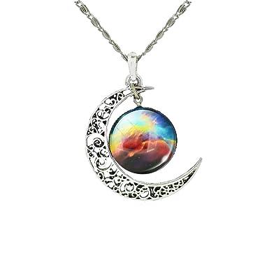 2e0c7066114a Collier avec pendentif galaxie et croissant de lune - Laiton
