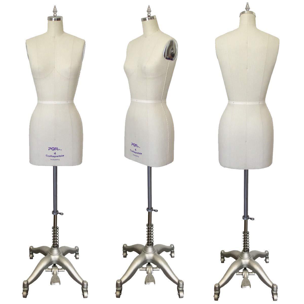 PGM Dress Form Size 4 w Collapsible Shoulder, Flat Hip Professional Female Dress Form. 3 Year Manufacturer Warranty! Inc. 602-04