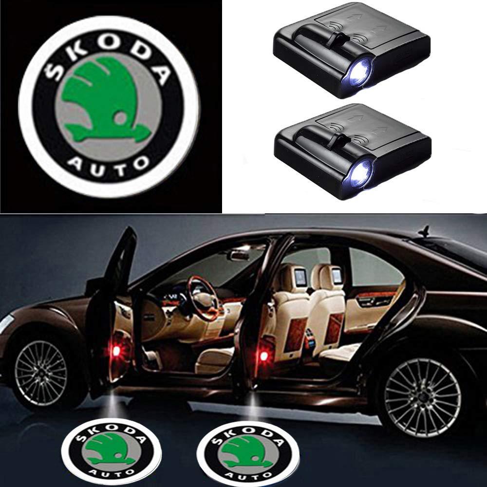 MIVISO 2 Stücke Auto Logo Projektor Ghost Shadow Embleme Drahtlose Autotür Lichter Led Laser Lampe Willkommen Courtesy Licht