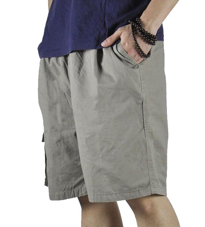 YangguTown Men's Cargo Elastic Waist Shorts Cotton Baseline Sports Drawstring Pants by YangguTown (Image #3)