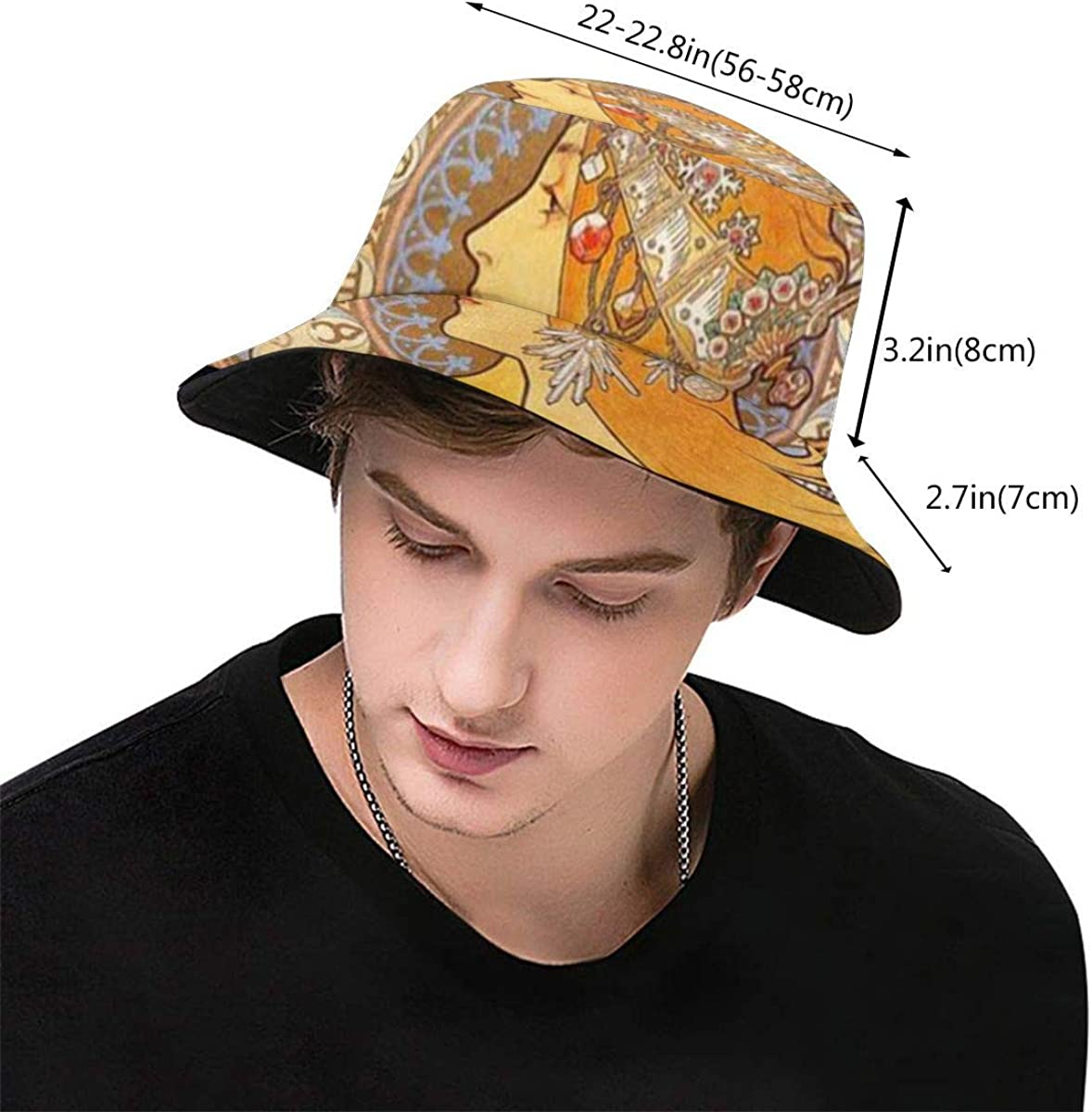 Zodiac By Mucha Canvas Bucket Hat Foldable Spring And Summer Travel Fisherman Hat Beach Sun Hat