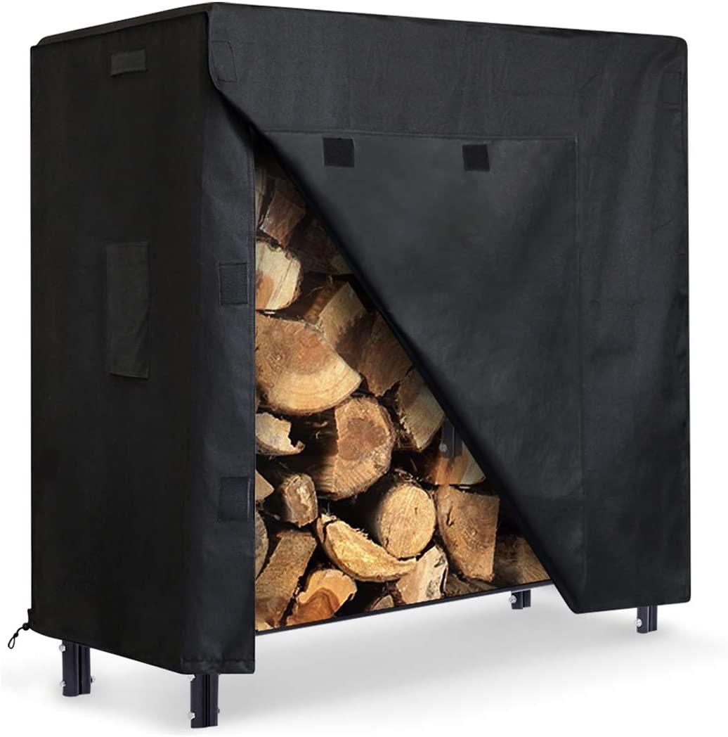 Green 4 Feet Firewood Rack Cover with Zipper Dustproof All-weather Protective Rectangular Wood Storage Carriers Cover 48 x 24 x 42 Outdoor Heavy Duty Waterproof Log Storage Rack Cover