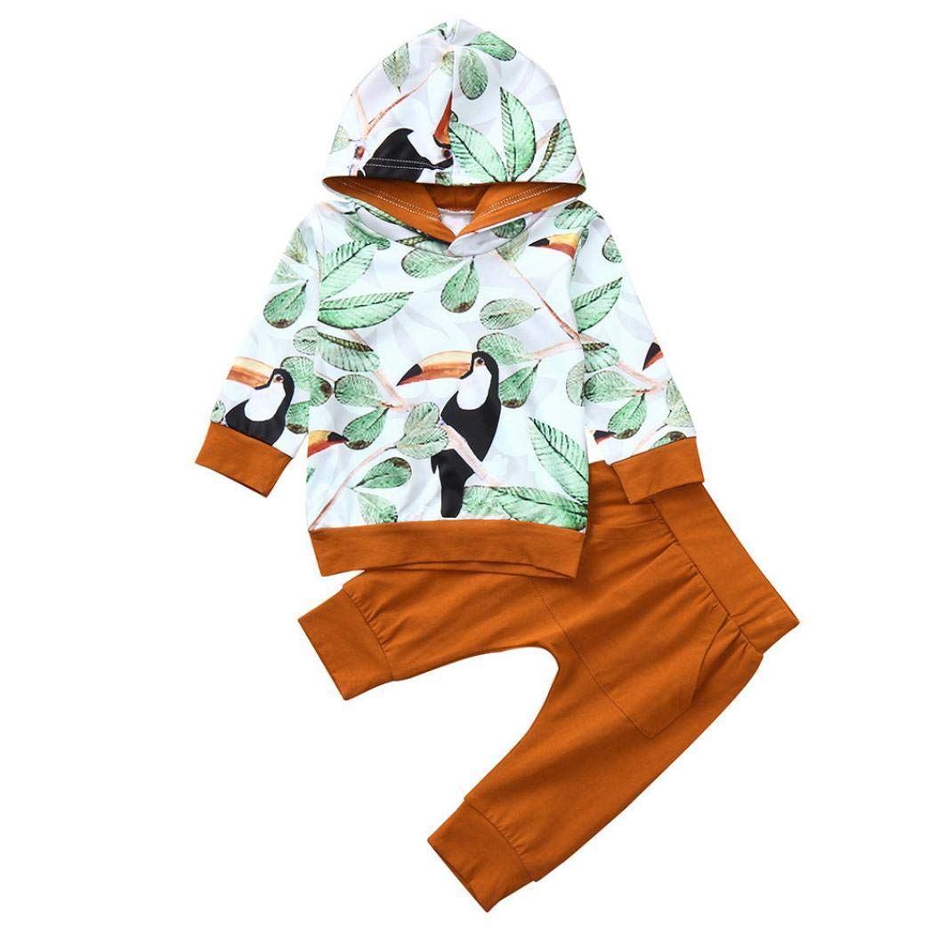 Newborn Autumn Hooded Sets,Jchen(TM) Cute Toddler Infant Baby Boys Girls Leaves Animal Print Hooded Tops Pants Outfits for 0-24 Months (Age: 12-18 Months)