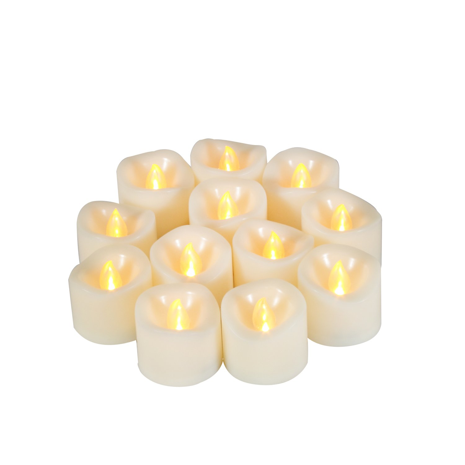 "iZAN Flameless LED Battery Operated Votive Candles Realistic Flickering Battery Powered Tea Lights Electric Tealights by Size-1.5""(D) x1.5""(H) 12-pack Long Lasting Batteries Included"