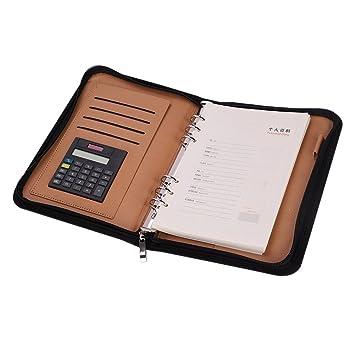 Portfolio piel sintética archivador A5 A6 – Agenda de mesa para caso camisa de respaldo, calculadora y cierre con cremallera y Block multifunción ...