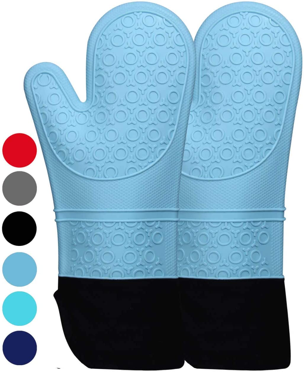 HOMWE Extra Long Professional Silicone Oven Mitt - 1 Pair - Oven Mitts with Quilted Liner - Aqua