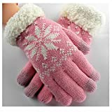 GOOTRADES Wool Knit Snowflake Design Winter Touchscreen Gloves for Women (Pink)