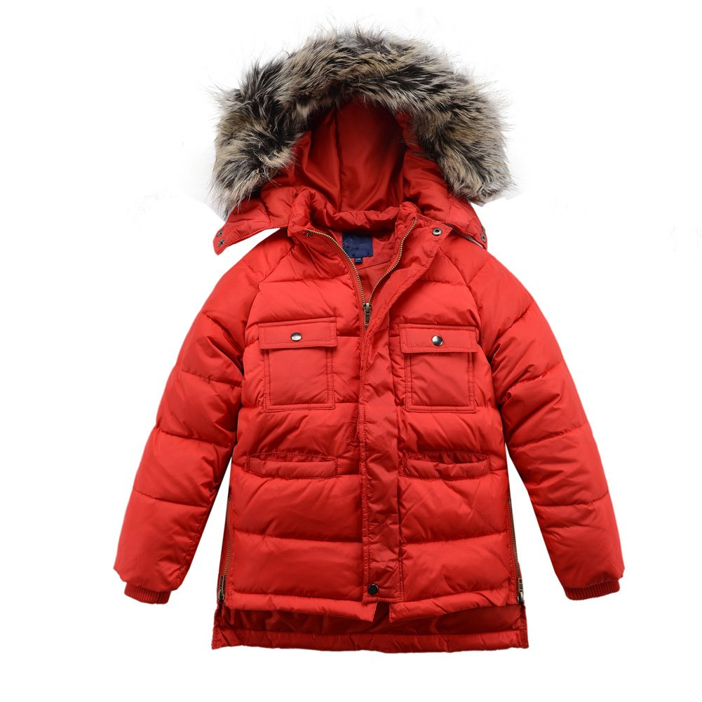 M2C Boys Winter Faux Fur Hooded Warm Insulated Jacket Parka 6/7 Red