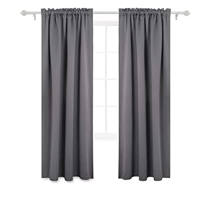 Deconovo Gray Blackout Curtains Rod Pocket Thermal Outdoor For Patio 42W X 84L Inch