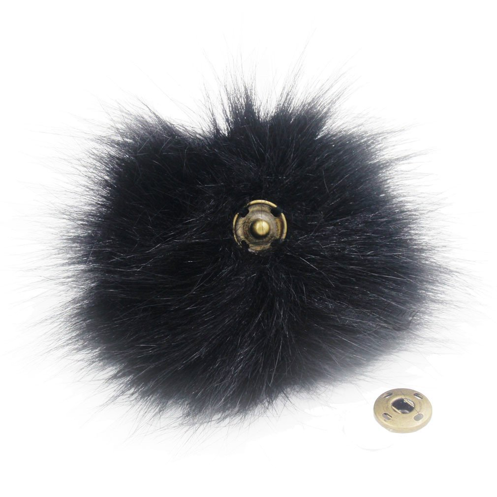 12pcs Faux Fox Fur Pom Pom with Press Button Removable Knitting Hat Accessories