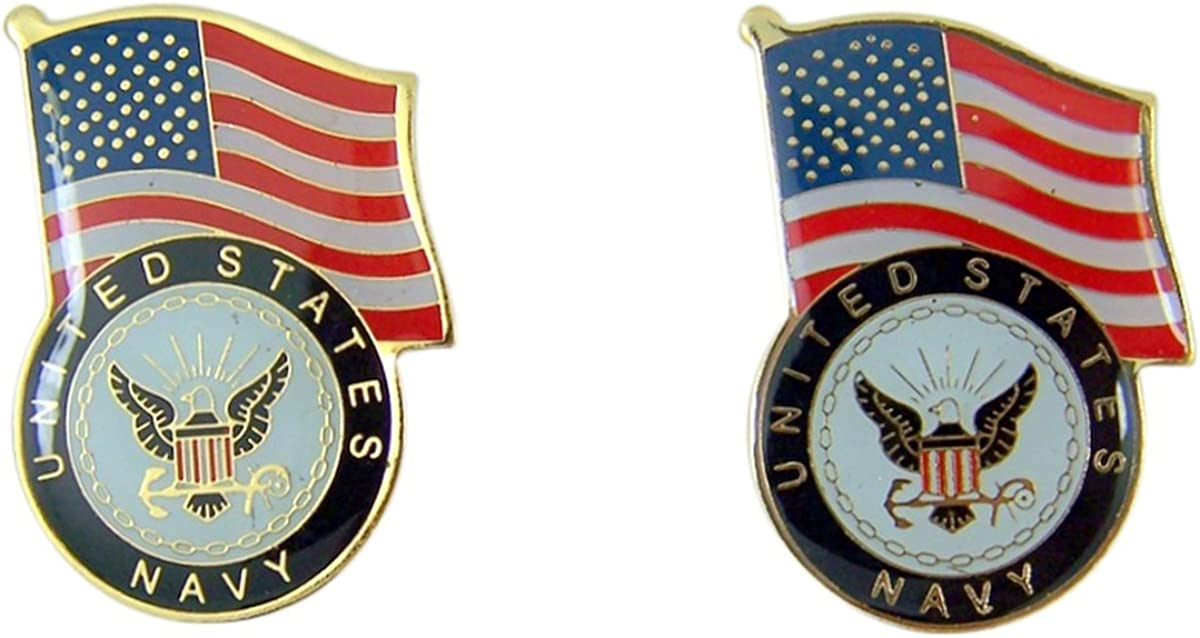 Patriotic US Navy American Flag Gold Toned with Enamel Lapel Pin, Pack of 2