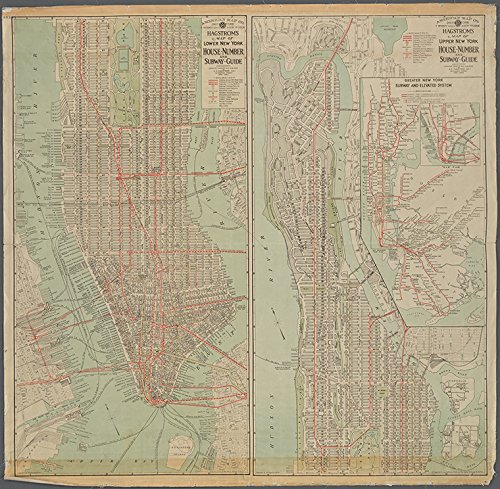 Historic 1920 Map | Hagstrom's map of lower New York, house-numberand subway guide. | Maps of New York City and State | - Manhattan York Map Subway New