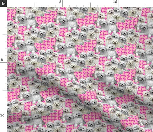(Spoonflower Dogs Fabric - Maltese Bolognese Dog Fabric Pink Bows Ribbons Print on Fabric by The Yard - Velvet for Upholstery Home Decor Bottomweight Apparel)