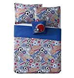 3 Piece Boys Blue Sports Quilt Twin Set, Stylish Sport Star Inspired Bedding, All Over Multi Soccer Ball Football Helmet Basketball Hoops Baseball Player Themed, Grey Orange Red White Black Brown