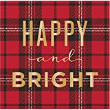Happy and Bright Red Plaid Holiday Christmas Party Paper Napkins Beverage Size Pk 48