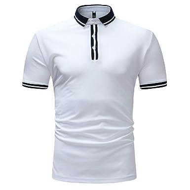 Homme Manches Shirt Haut Décontracté Sport Chemisier Polo Coton Chemise Courtes Hommes Sans T EteManadlian Couleur Unie 5j4L3AR