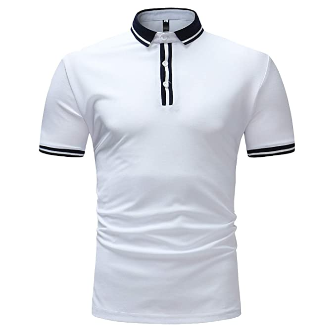 SamMoSon 2019 Camisas Lino Tradicionales para Hombres Manga Corta con Cuello Casual Blusa Suelta Camisetas Sueltas