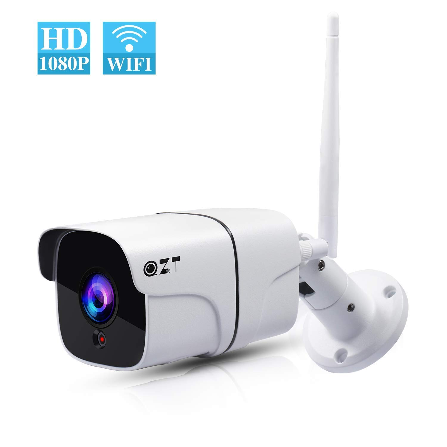 Outdoor Security Camera, QZT HD 1080P Wireless Surveillance Camera with  Waterproof IP66 Motion Detection Night Vision, Outdoor WiFi IP Camera with