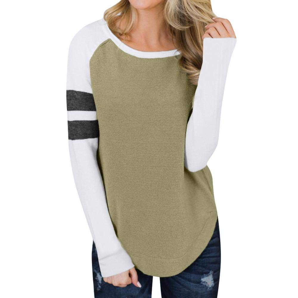 Women's Long Sleeve Tunic Sweatshirt Tops Splice Color Blouse Tee T-Shirt Tenworld W