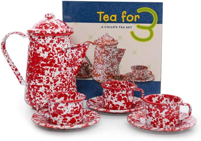 Crow Canyon Home Enamelware Children's Tea for 3 Set, Red/White Splatter