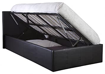 Seattle Ottoman Storage Bed Side Lift Opening   Black 4ft Small Double