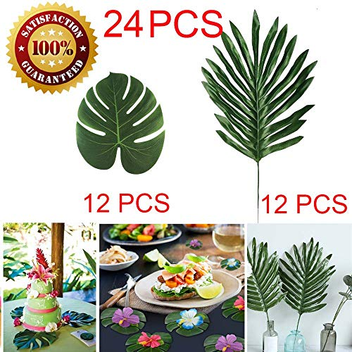 LOMIRO 24 Pcs 2 Kinds Artificial Palm Leaves Tropical Plant Faux Leaves Safari Leaves Hawaiian Luau Party Suppliers Decorations,Tiki Aloha Jungle Beach Birthday Table Leave Decorations for $<!--$9.99-->
