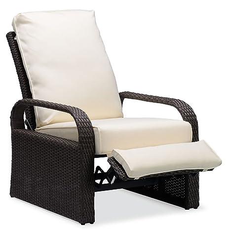 ATR Silla reclinable de mimbre de resina para exteriores con ...